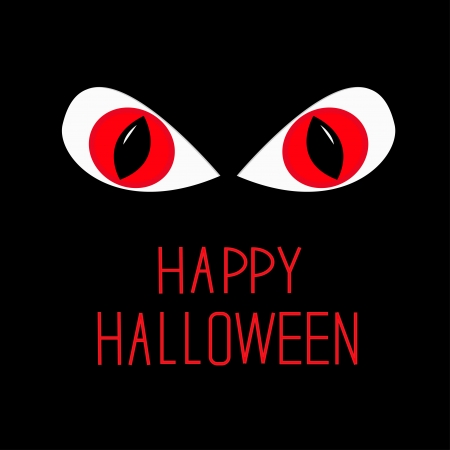 Evil Red eyes in dark night Happy Halloween card illustration Vector