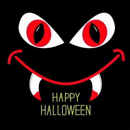 Evil Red eyes and mouth with fangs in dark night Halloween card illustration Vector