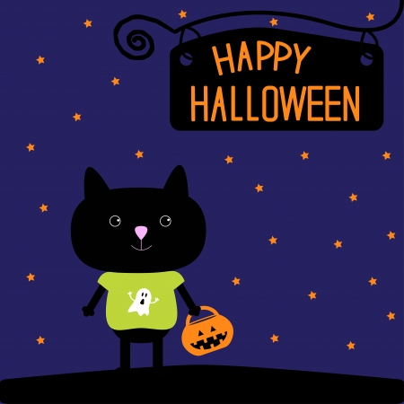 Black cat with Halloween pumpkin bucket Starry night illustration Vector