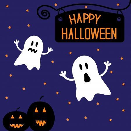 haunt: Two funny Halloween ghosts and pumpkins. Starry night. Card.  Vector illustration