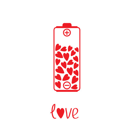 Love battery with hearts inside. Vector illustration.  Card Vector