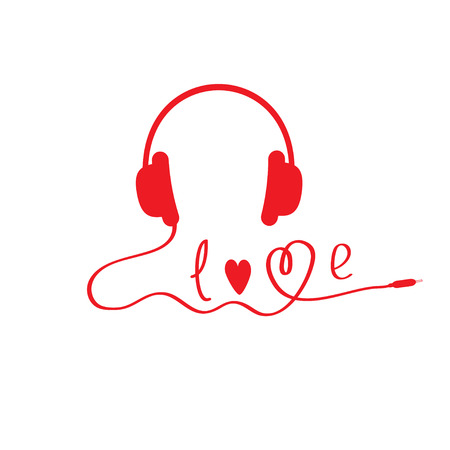 Red headphones.  White background.  Love card.  Vector illustration. Vector