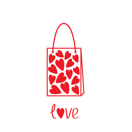 Love shopping bag  with hearts inside. Vector illustration.  Card Vector