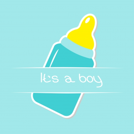 chap: Baby boy blue bottle. Shower card. Its a boy Illustration