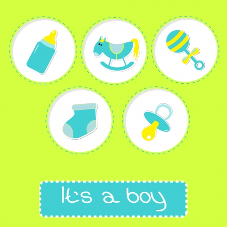 Baby boy shower card with bottle, horse, rattle, pacifier and sock.  Its a boy. Vector