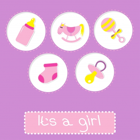 Baby girl shower card with bottle, horse, rattle, pacifier and sock.  Its a girl. Vector