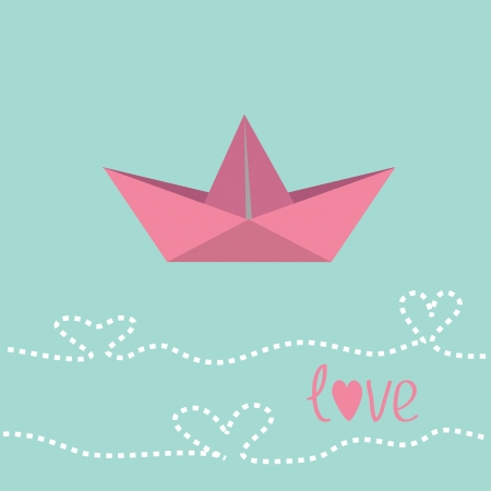 Origami paper boat.  Love card. Vector illustration. Vector