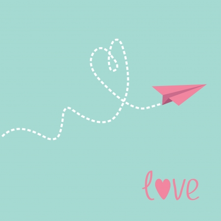 Origami paper plane. Dash heart in the sky. Love card. Vector illustration. Vector