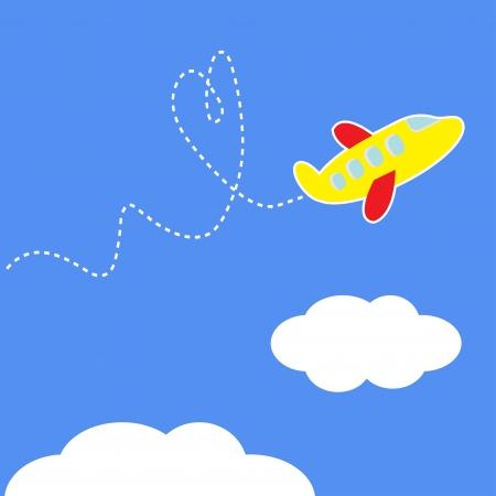 Cartoon plane. Dash heart in the sky. Love card. Vector illustration. Vector