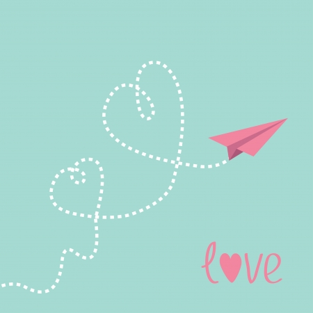 Origami paper plane. Two dash  heart in the sky. Love card. Vector illustration. Vector