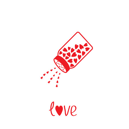 Salt shaker with hearts inside. Card. Vector illustration.