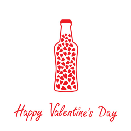 Beer bottle with hearts inside. Happy Valentines Day card.  Vector illustration.  Ilustração