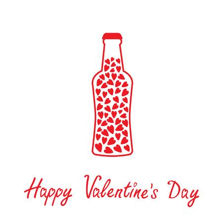 Bierfles met harten binnen. Happy Valentines Day kaart. Vector illustratie. Stock Illustratie