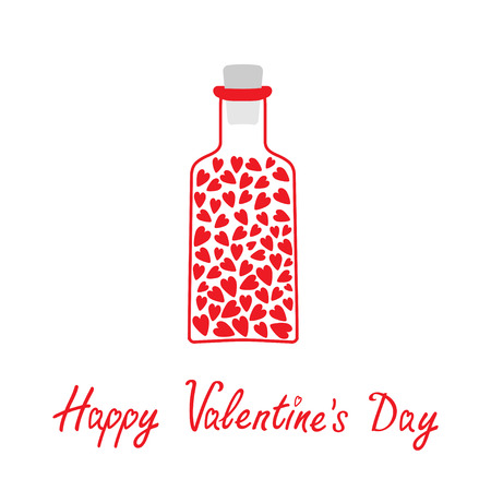 bung: Love bottle with hearts inside. Happy Valentines Day card.  Card