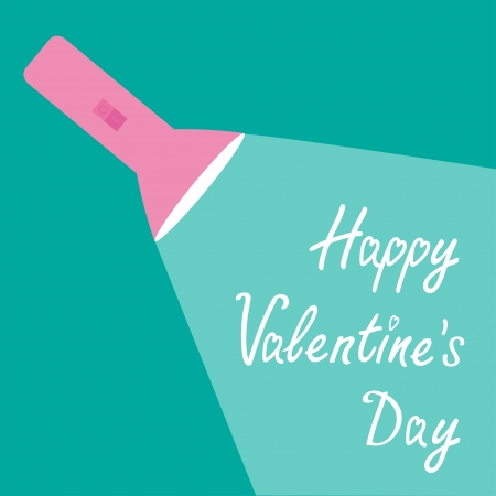 ray of light: Pink flashlight and ray of light. Flat design. Happy Valentines Day card.  Vector illustration