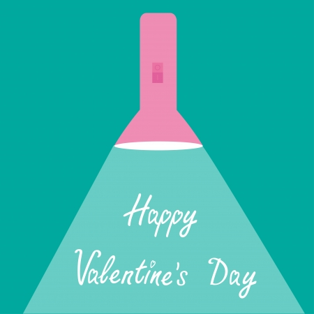 Pink flashlight with ray of light. Flat design. Happy Valentines Day card.  Vector illustration Vector