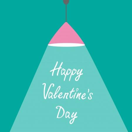 ceiling design: L�mpara rosada luz de techo con el rayo de luz. Dise�o plano. Feliz D�a de San Valent�n. Ilustraci�n vectorial Vectores