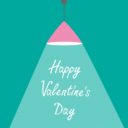 ray of light: Pink ceiling light lamp with ray of light. Flat design. Happy Valentines Day card.  Vector illustration