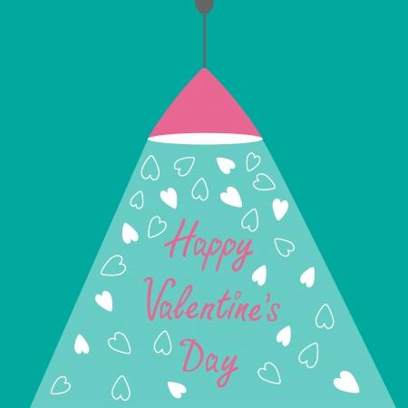 ceiling design: L�mpara rosada luz de techo con el rayo de luz y corazones. Dise�o plano. Feliz D�a de San Valent�n. Ilustraci�n vectorial