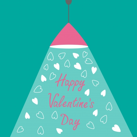 ray of light: Pink ceiling light lamp with ray of light and hearts. Flat design. Happy Valentines Day card. Vector illustration