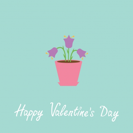 Violet  flower in pot. Happy Valentines Day card. Vector illustration Vector