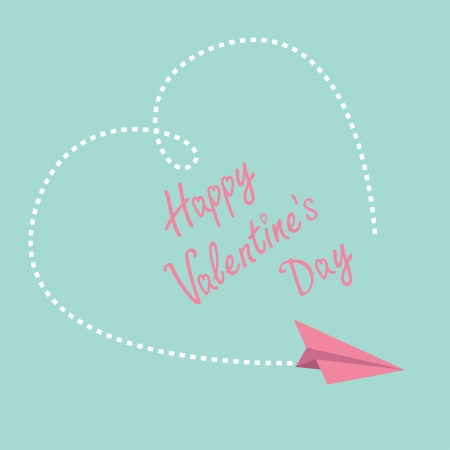 Flying paper plane. Big dash heart in the sky. Happy Valentines Day card.  Vector illustration. Vector