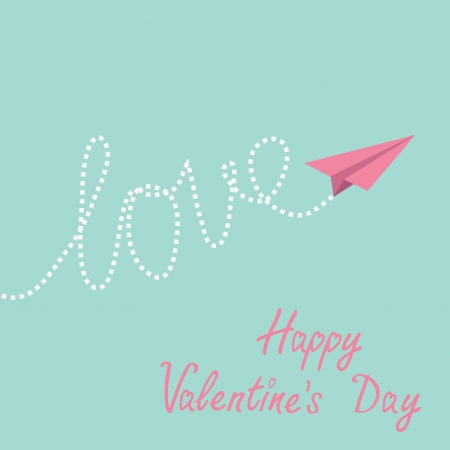 Origami paper plane in the sky. Happy Valentines Day card.  Vector illustration. Vector