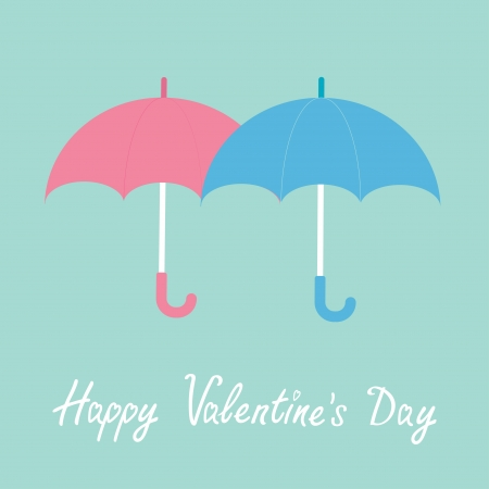 Pink and blue umbrellas. Happy Valentines Day card. Vector illustration. Vector