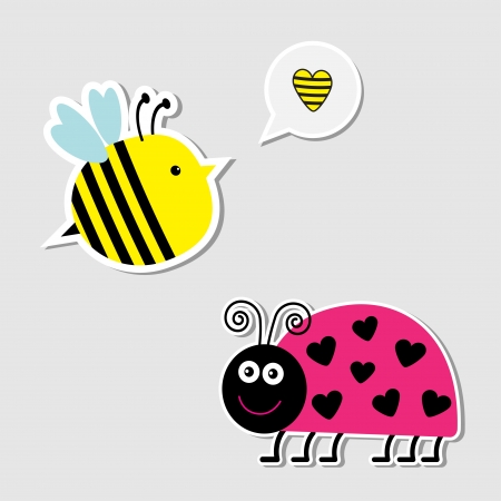 Cute cartoon bee and lady bug. Card. Vector illustration Vector