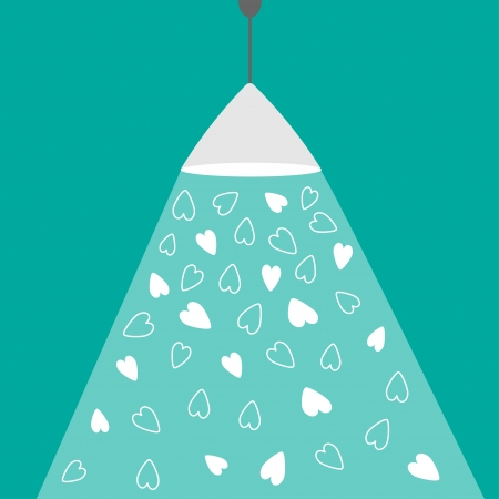 ray of light: Ceiling light lamp with ray of light and hearts. Flat design. Love card. Vector illustration