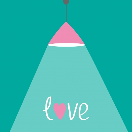 lamplight: Pink ceiling light lamp with ray of light and hearts. Flat design. Love card. Vector illustration Illustration