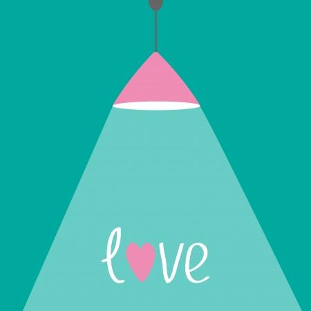 Roze plafond lamp met licht en harten. Plat ontwerp. Enquête. Vector illustratie