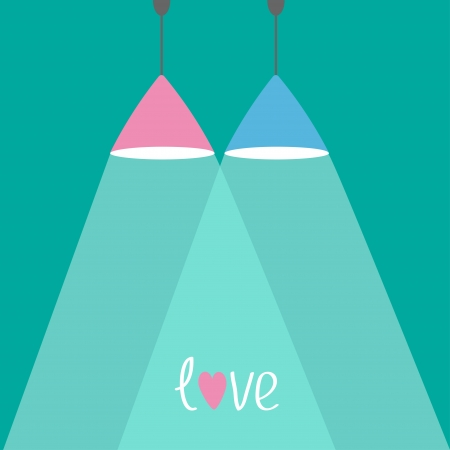 lamplight: Pink and blue lamps with rays of light. Flat design. Love card. Vector illustration
