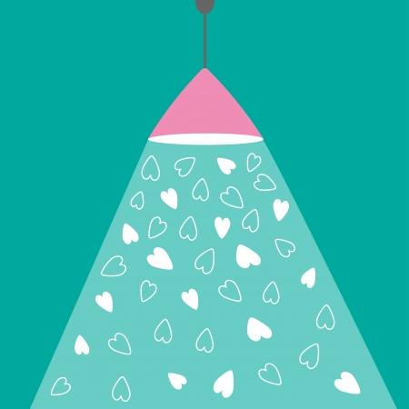 ceiling design: L�mpara rosada luz de techo con el rayo de luz y corazones. Dise�o plano. Tarjeta del amor. Ilustraci�n vectorial