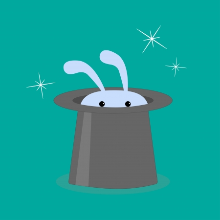 Bunny rabbit in magic hat. Vector illustration Vector