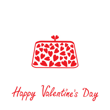 클러치: 마음 클러치를 사랑 해요. 해피 발렌타인 데이 카드. 벡터 일러스트 레이 션.