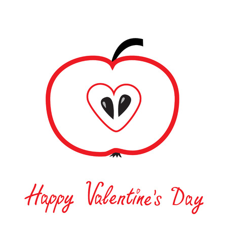 Red apple with heart shape. Happy Valentines Day card. Vector illustration  Vector