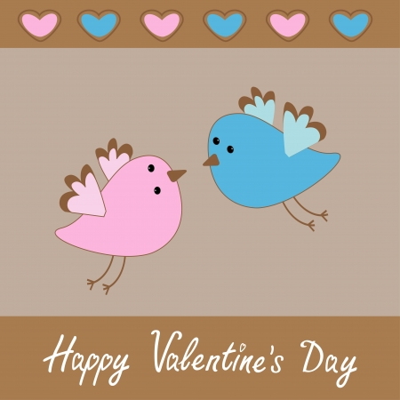 Cute birds. Happy Valentines Day card. Vector illustration. Vector