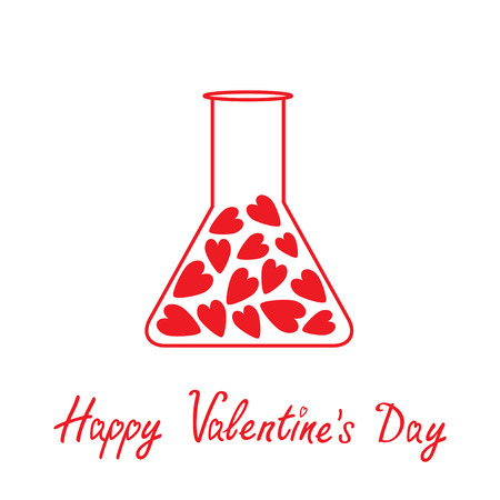 Love laboratory glass with hearts inside. Happy Valentines Day card. Vector illustration.  Vector