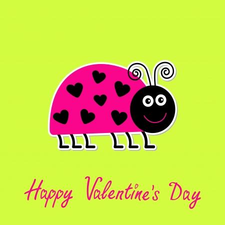 lady bug: Cute Cartoon pink lady bug mit Punkten in Form von Herzen. Gr�ner Hintergrund. Happy Valentines Day Karte. Vektor-Illustration.