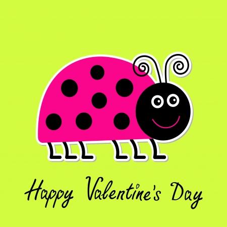 lady bug: Cute Cartoon pink lady bug. Isoliert. Happy Valentines Day Karte. Vektor-Illustration.