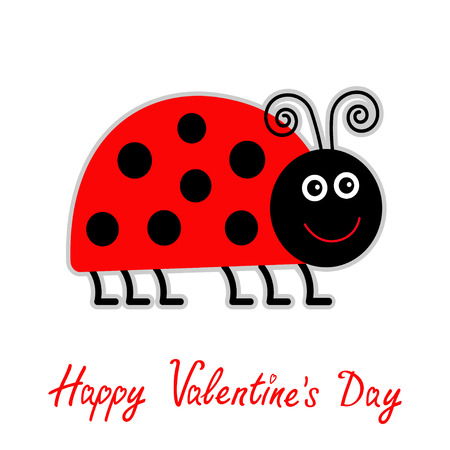 Cute cartoon red lady bug. Isolated. Vector illustration. Happy Valentines Day card. Vector