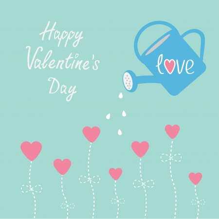 Water can and flowers in shape of heart. Happy Valentines Day card. Vector illustration. Vector