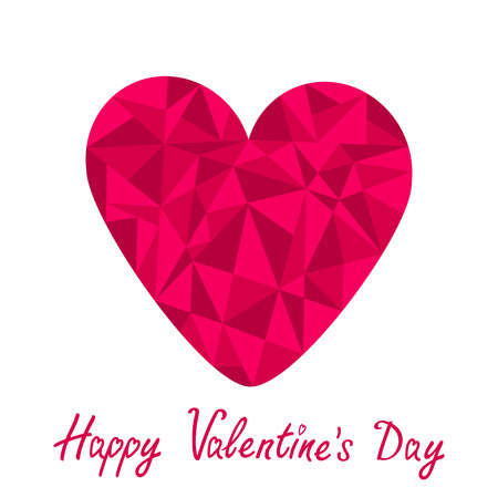 Pink heart. Polygonal effect. White background. Happy Valentines Day card. Vector illustration. Vector