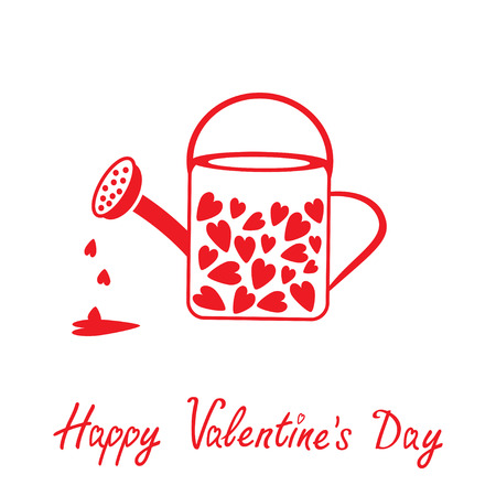 Love watering can with hearts inside. Happy Valentines Day card. Vector illustration.