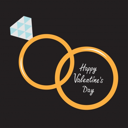 Wedding gold rings.  Diamond. Happy Valentines Day card. Vector illustration.  Vector