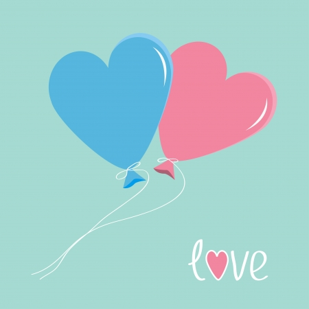 Blue and pink balloons in shape of heart. Love card. Vector illustration. Illustration