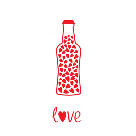 bung: Beer bottle with hearts inside. Love card. Vector illustration.  Illustration