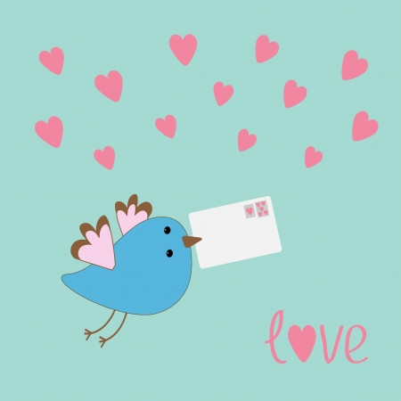 Flying bird with letter and hearts.  love card. Vector illustration. Vector