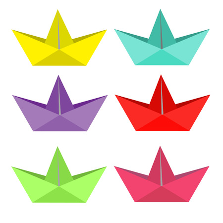 Set of bright paper ships. Isolated. Vector illustration